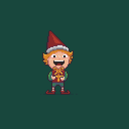 Pixel art Santas helper, elf with gift.