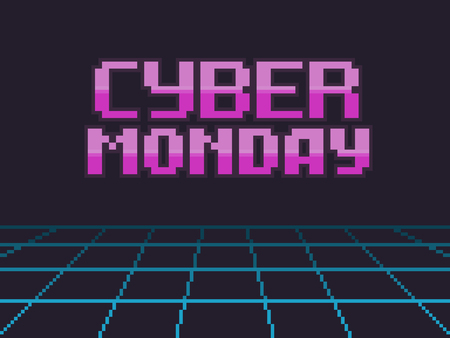 Pixel art retro background with cyber monday text