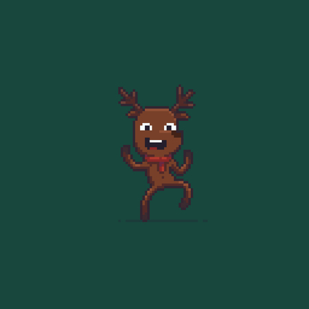 Pixel art happy dancing reindeer, isolated on green background.