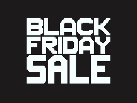 Pixel art Black Friday Sale text, white letters on dark background. Ilustrace