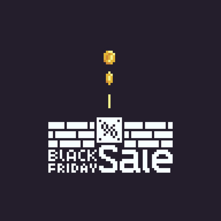 Pixel art Black Friday Sale text, white letters, pixel bricks and coins on dark background.