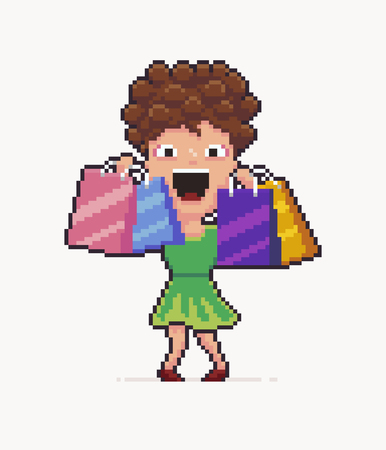 Pixel art happy girl with shopping bags, vector illustration.