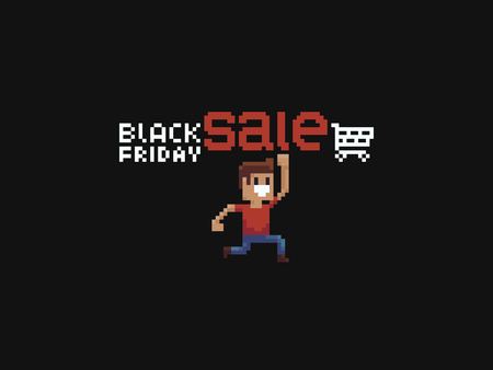 Pixel art Black Friday Sale text and jumping guy hitting sale with his fist.