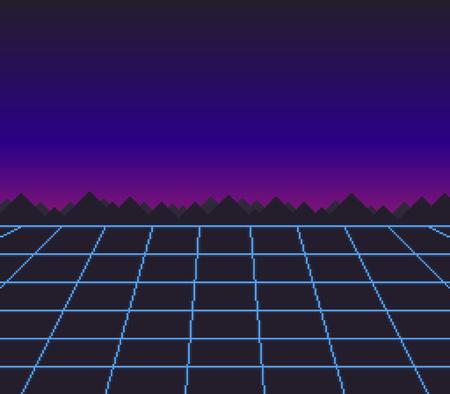 Abstract retro, sci-fi pixel art background illustration. Ilustrace