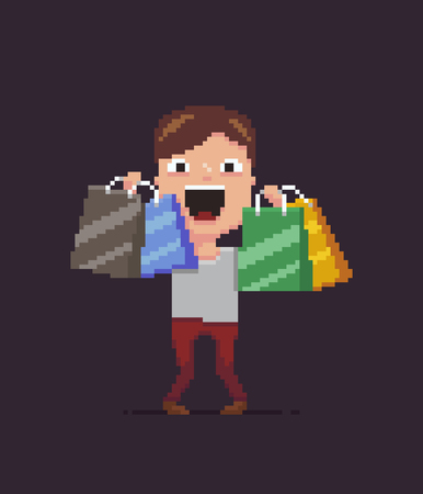 Pixel art happy guy with shopping bags. Ilustrace