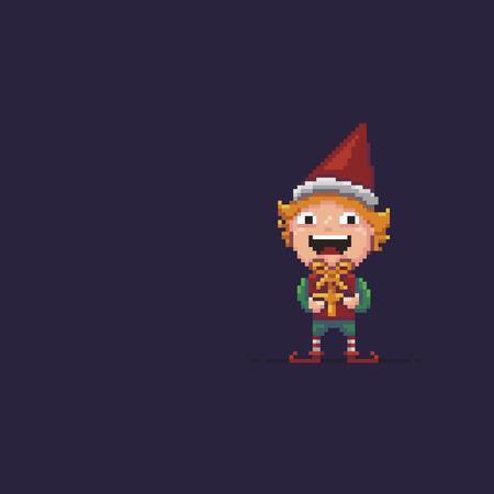 Pixel art Santas helper, elf with gift illustration.