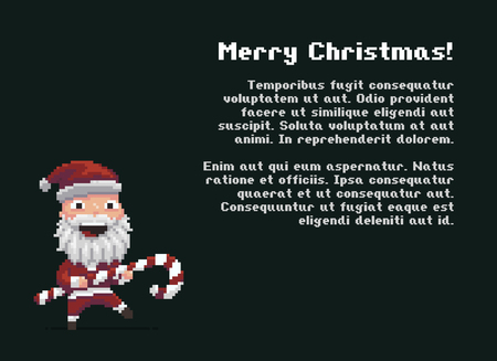 Pixel art Santa with striped Christmas candy, vector illustration.