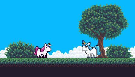 Pixel art scene with treem clouds, bushes, grass and unicorns.
