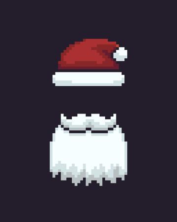 Pixel art Santas hat and beard on dark background, vector illustration. Ilustrace