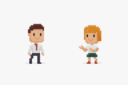 Two pixel art characters, male and female, in office dress isolated on white background Ilustrace