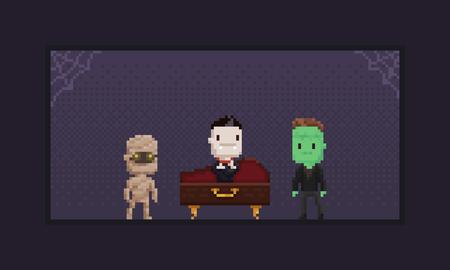 Pixel art 8-bit retro halloween characters