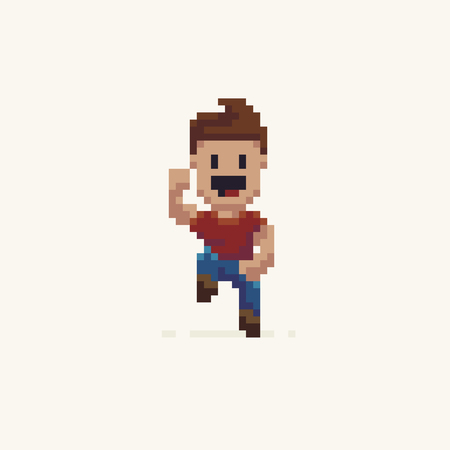 Pixel art happy jumping male character Ilustrace