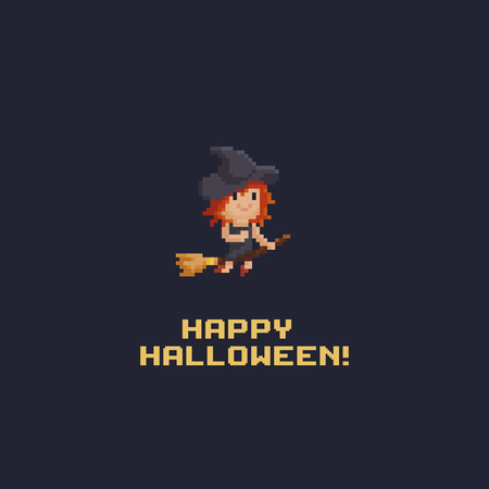 Pixel art witch flying on the broom with happy halloween text. Ilustrace