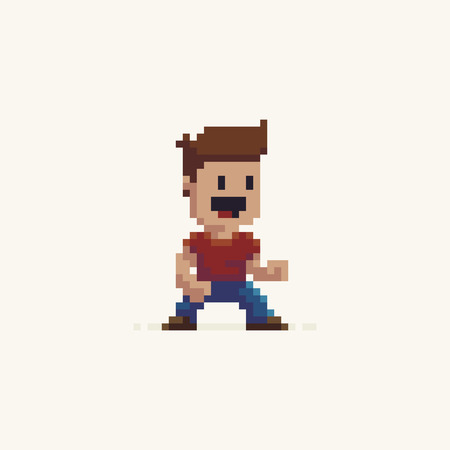 Pixel art male happy game character in fighter stance
