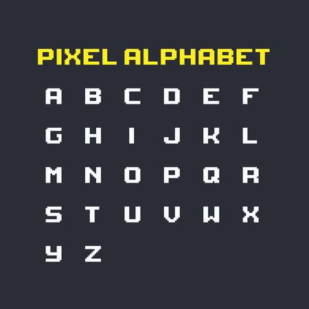 Set of pixel art retro latin alphabet uppercase letters