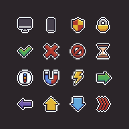 Set of 16 pixel art 8-bit UI icons with pc and mobile devices, shield, lock, hourglass, compass, magnet, lightning and arrows