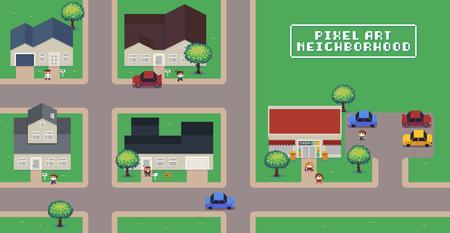 Mappa del quartiere di pixel art con case, negozi, strade, automobili, persone e alberi