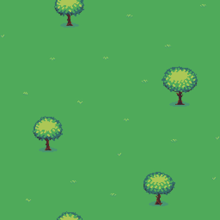 Pixel art seamless background with trees and grass