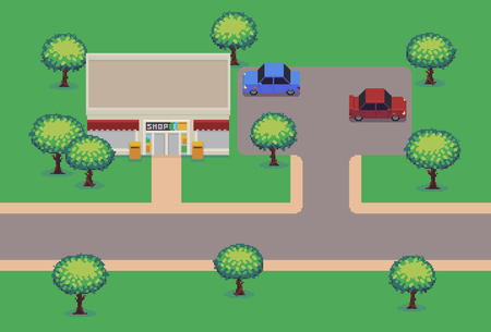Pixel art shop, car parking with cars, road and trees