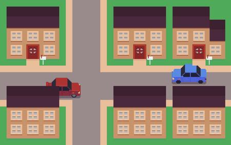 Pixel art neighborhood, houses, roads and cars