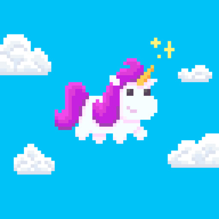Pixel art unicorn with magic sparkles flying in the sky with clouds