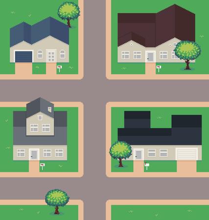 Pixel art neighborhood, houses, garage and trees