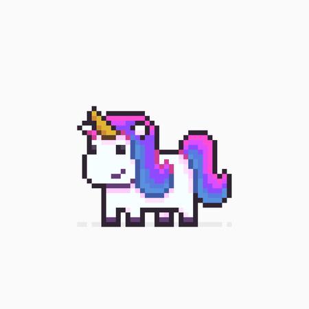 Pixel art unicorn isolated on white background