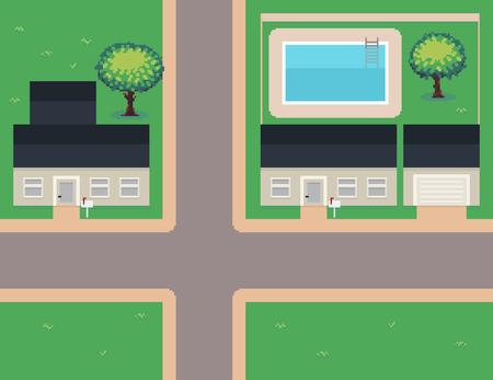 Pixel art neighborhood, houses, garage, pool, trees