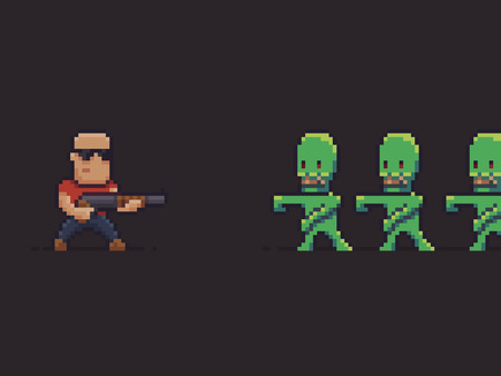 Pixel art guy with shotgun fighting against zombies
