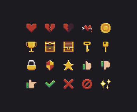 Collection of different pixel art icons Illusztráció