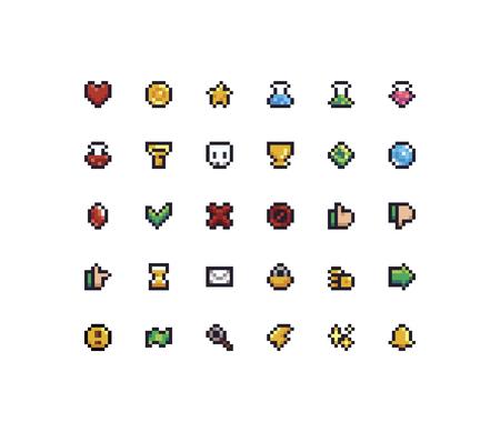 Set of 30 tiny pixel perfect 8-bit icons