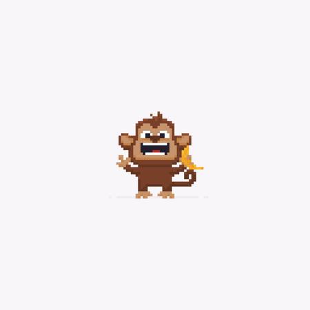 Pixel art happy monkey with banana isolated on white background