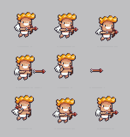 Pixel art cupid shooting arrows with his bow, sprite sheet animation