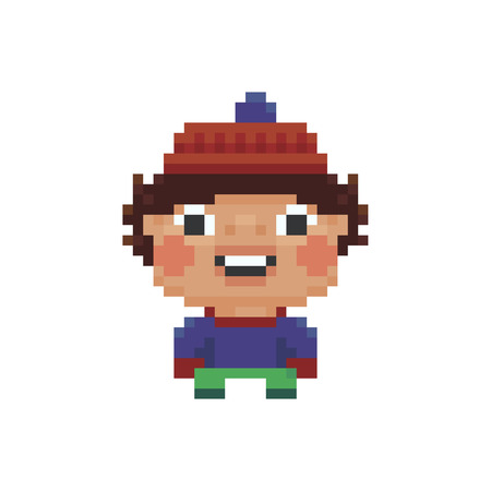 Pixel art smiling kid in winter hat isolated on plain background.