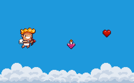 Pixel art game background with clouds, flying Cupid with bow and arrow, love potion and 8bit heart