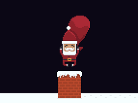 Pixel art happy Santa Claus jumping into chimney pipe