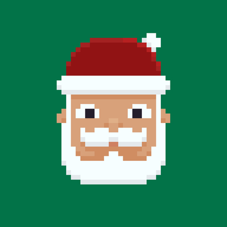 Pixel art Santas head isolated on green background