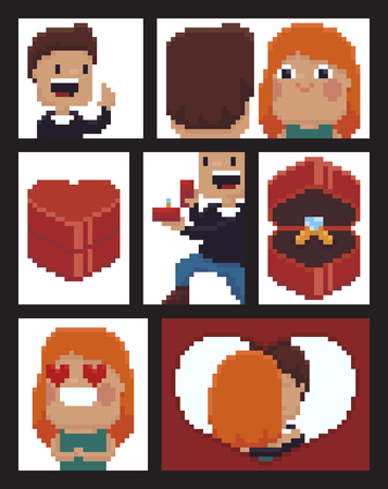 Pixel art comic strip with man doing marriage proposal staying on his knee, happy girl, 8-bit heart shaped box with proposal ring Ilustrace
