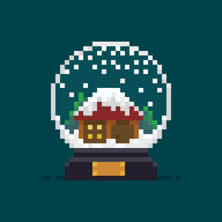Pixel art snow globe icon with house and trees Ilustrace