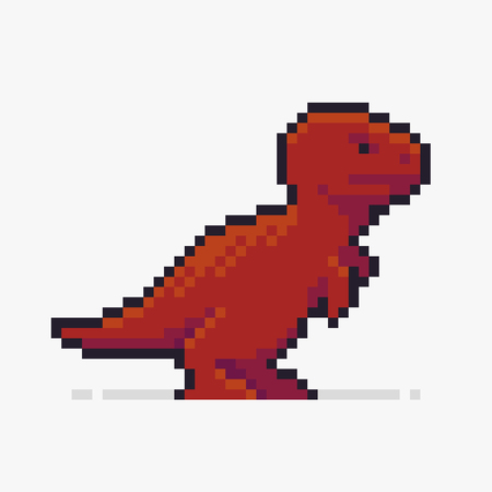 Pixel art dinosaur, T-Rex on white background