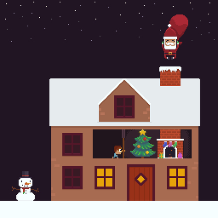 Pixel art house, Santa jumping into chimney pipe, kid prying into keyhole and snowman