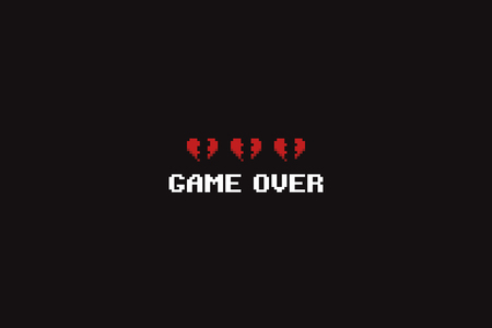 Pixel art game over text and three broken 8-bit hearts Reklamní fotografie
