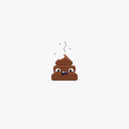 Pixel art stinky poop character isolated on white background Ilustrace