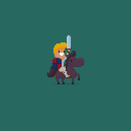 Pixel art knight with sword sitting sitting on horse Ilustrace