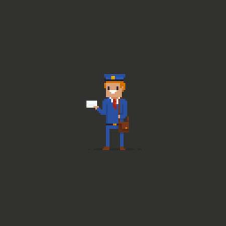 Pixel art mailman in blue uniform holding an envelope