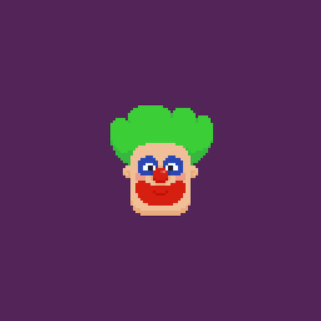 Pixel art clown head with green hair Ilustrace