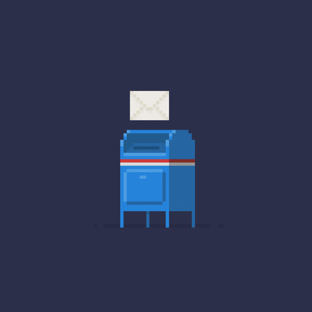 Pixel art mailbox and envelope on dark background Ilustrace