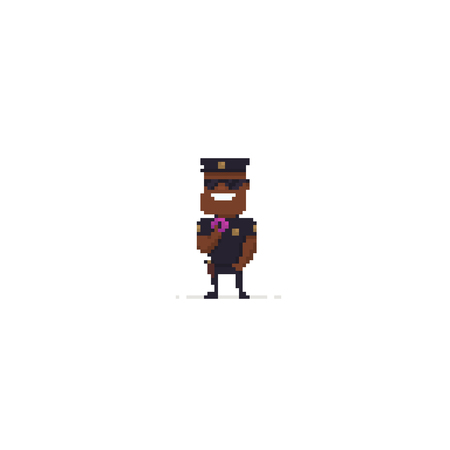 Pixel art policeman with donut on white background Ilustrace
