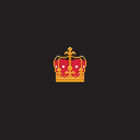 Pixel art royal king hat isolated on dark background