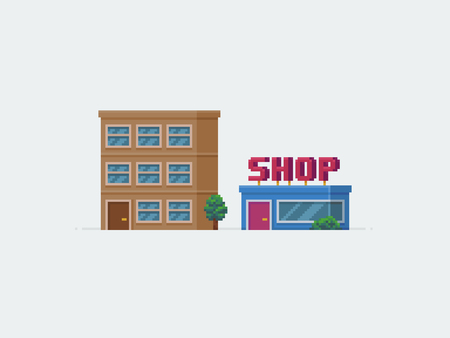 Pixel art multistory condo and shop buildings Ilustrace